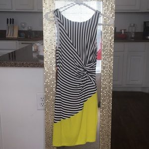Black and White Dress with Yellow Panel from Bebe